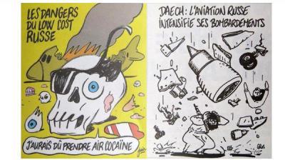 """شاهد الكاريكاتير الذي نشرته صحيفة """"شارلي إيبدو"""" الفرنسية  وسخر من حادثة الطائرة الروسية المنكوبة وأغضب الرئاسة الروسية"""