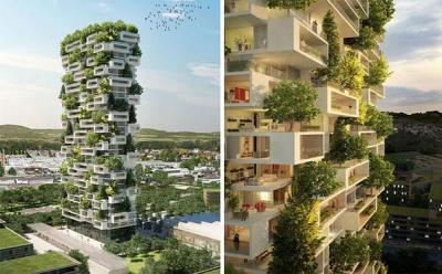 بالصور.. إيطالي يبني برجاً سكنياً تغطيه الأشجار بالكامل