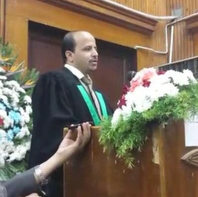 """الدكتوراه في القانون المدني من جامعة القاهرة للباحث اليمني """" محمد عبد الرحمن بدر الدين """""""