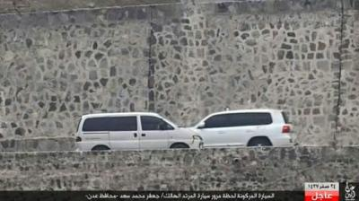 شاهد صوره توثق وقوف السيارة المفخخة  بجانب سيارة محافظ عدن قبل إنفجارها وصور أخرى أثناء التفجير