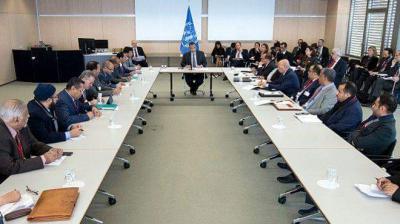 مصدر يكشف  تفاصيل الجلسة الأولى بين وفد الحكومة والحوثيين وصالح في سويسرا وما الذي قاله مهدي المشاط