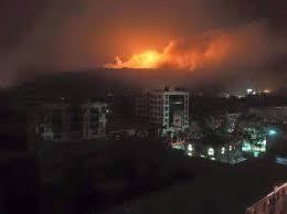 غارات جوية  عنيفة تستهدف العاصمة صنعاء - المنطقة المستهدفة