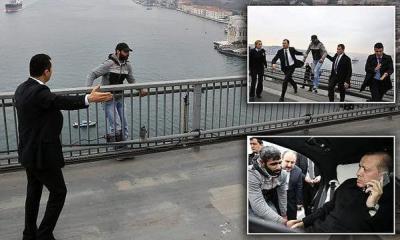 """بالفيديو.. أردوغان"""" ينجح بإقناع رجلاً بعدم الانتحار من فوق جسر البوسفور"""