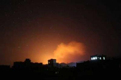 أسماء المواقع التي إستهدفها طيران التحالف مساء اليوم بالعاصمة صنعاء واستمرار إشتعال النيران في أحد المواقع