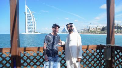 ميسي ينشر صورة له مع الشيخ محمد بن راشد في دبي