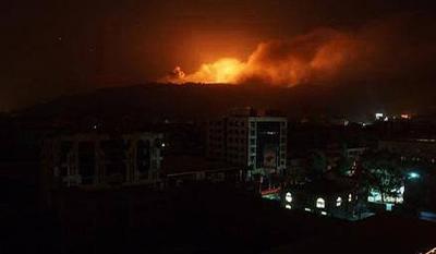 غارات جوية و إنفجارات عنيفة تهز العاصمة صنعاء وإشتعال النيران في تلك المواقع ( المواقع المستهدفة)