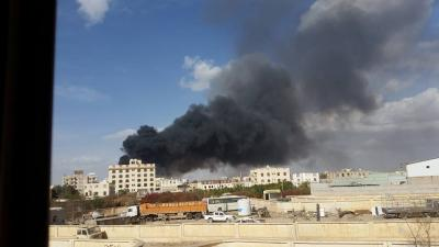 إنفجارات والدخان يغطي شمال العاصمة صنعاء ( صور -  المنطقة المستهدفة )