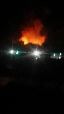 إنفجارات تهز العاصمة صنعاء والحرائق تشتعل في المنطقة المستهدفة ( صورة -  المواقع المستهدفة )