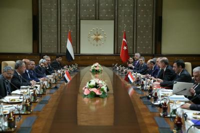 جلسة مباحثات يمنية تركية بحضور رئيسي البلدين ( صوره)
