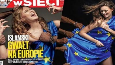 """غلاف إحدى المجلات الأوروبية يحرض على اللاجئيين """"الاغتصاب الإسلامي لأوروبا"""" ( صورة)"""