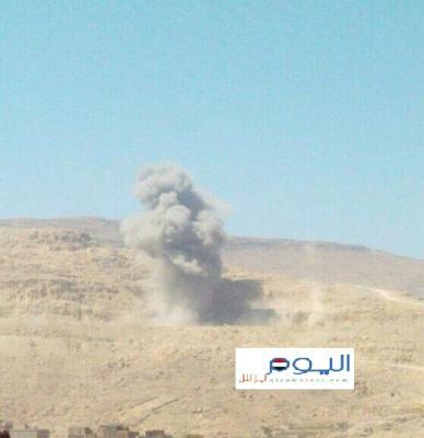 غارات جوية تستهدف موقع بمدينة عمران ( صورة )