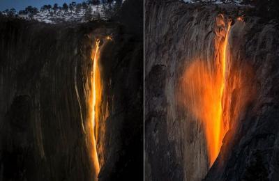 """ظاهره عجيبة """"شلال النار"""" بدل الماء تظهر مجددا في أميركا ( صور)"""