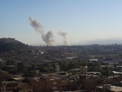 طيران التحالف يقصف العاصمة صنعاء ويحلق على علو منخفض ( المنطقة المستهدفة)