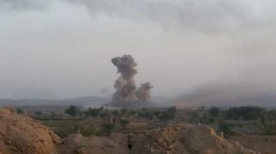 غارات جوية استهدفت لواء العمالقة بعمران خلفت قتلى وجرحى ( صوره)