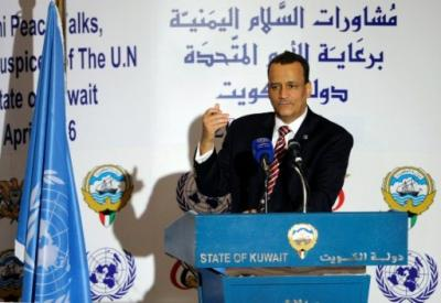 المبعوث الأممي ولد الشيخ يقترح تمديد مشاورات الكويت وينتظر رد الأطراف اليمنية