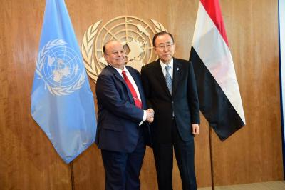 الرئيس هادي يلتقي الأمين العام للأمم المتحدة بان كي مون ( صوره)