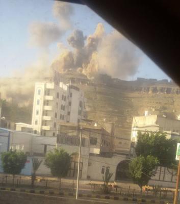 طيران التحالف يعاود قصف العاصمة صنعاء ( صور -  المنطقة المستهدفة)
