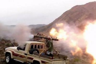 """تفاصيل الهجوم العنيف الذي شنه الحوثيون وقوات صالح على المقاومة في البيضاء جبهة """" آل حميقان """""""