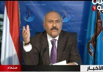 """أبرز ماقاله الرئيس السابق """" صالح """" في كلمته .. توعد السعودية بالثأر ووجه دعوه لوزارة الدفاع والداخلية وامتدح المخلافي وتوكل كرمان"""