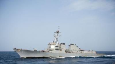 هجوم صاروخي على  مدمرة أمريكية قبالة السواحل اليمنية  للمرة الثانية والبنتاغون يتوعد بالرد