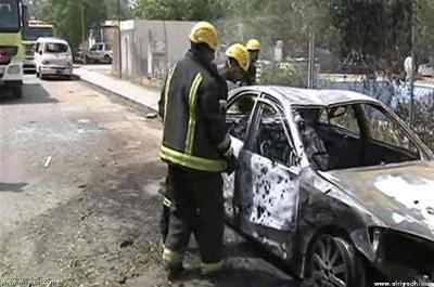 مقذوف حوثي يصيب خمسة مواطنين سعوديين ويلحق أضراراً بأحد المساجد